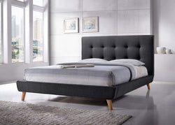 Midnight Blue Drew Tufted Linen Platform Bed