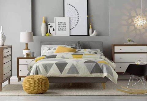 Grey Drew Tufted Linen Platform Bed