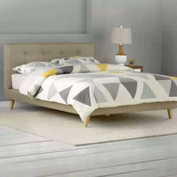 Tan Drew Tufted Linen Platform Bed