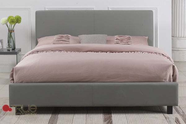 Mirabel Grey Faux Leather Platform Bed