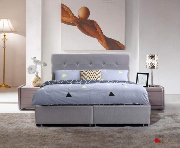 Victoria Grey Tufted Linen Platform Bed with Storage Drawers