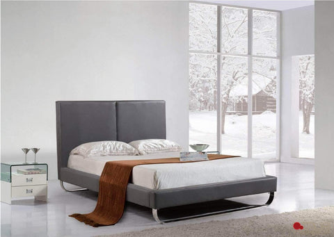 Zane Grey Faux Leather Platform Bed with Metal Feet