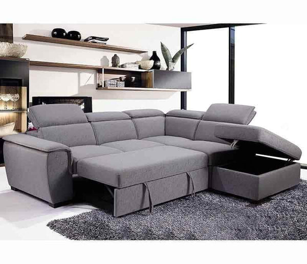 Urban Cali Sleeper Sectional Gerardo Sleeper Sectional Sofa Bed with Storage Ottoman