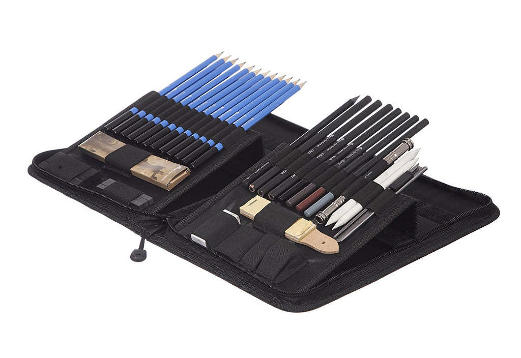 Castle Art Supplies 40 Piece Drawing Pencils and Sketch Set in Pop Up Zipper Case - Includes Graphite, Pastel and Charcoal Pencils and Accessories