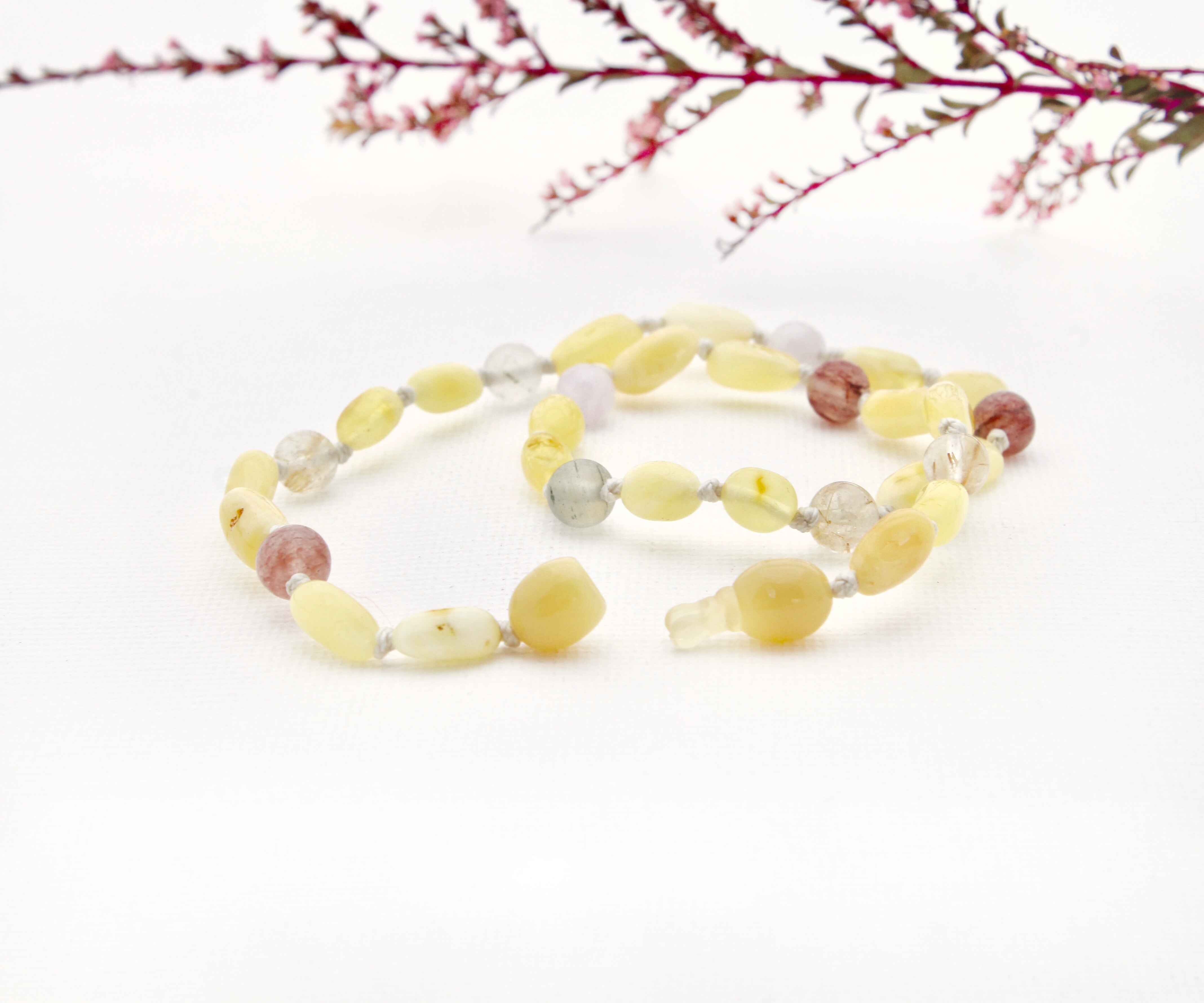 Butter Amber Teething Necklace with Rutilated, Strawberry and Lavender Quartz
