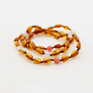 Cognac Amber Breastfeeding Necklace with Moonstone and Chalcedony