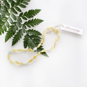 Lemon and Butter Amber Necklace with Peruvian Amazonite