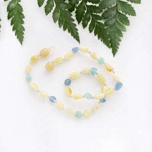 Butter Amber Necklace with Blue Multi Quartz