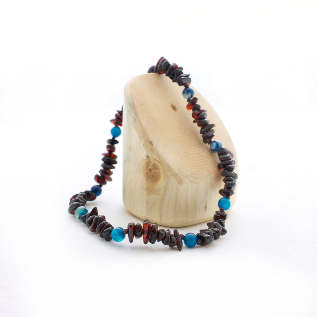 Amber Teething Necklace | Cherry Baltic Amber + Blue Striped Agate