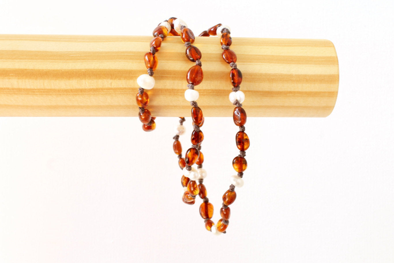 Cognac Amber Teething Necklace for Mom with Natural Pearls