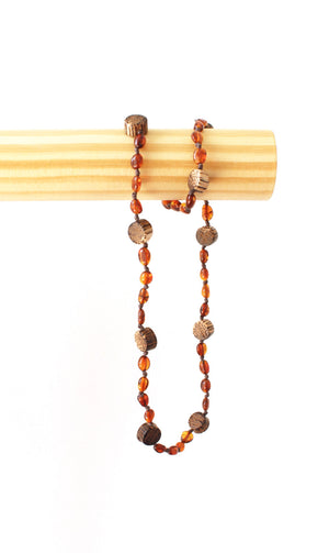 Mama Cognac Amber Necklace with Natural Wood Beads