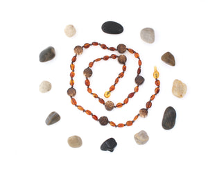 Cognac Amber + Natural Wood Beads Adult Amber Necklace