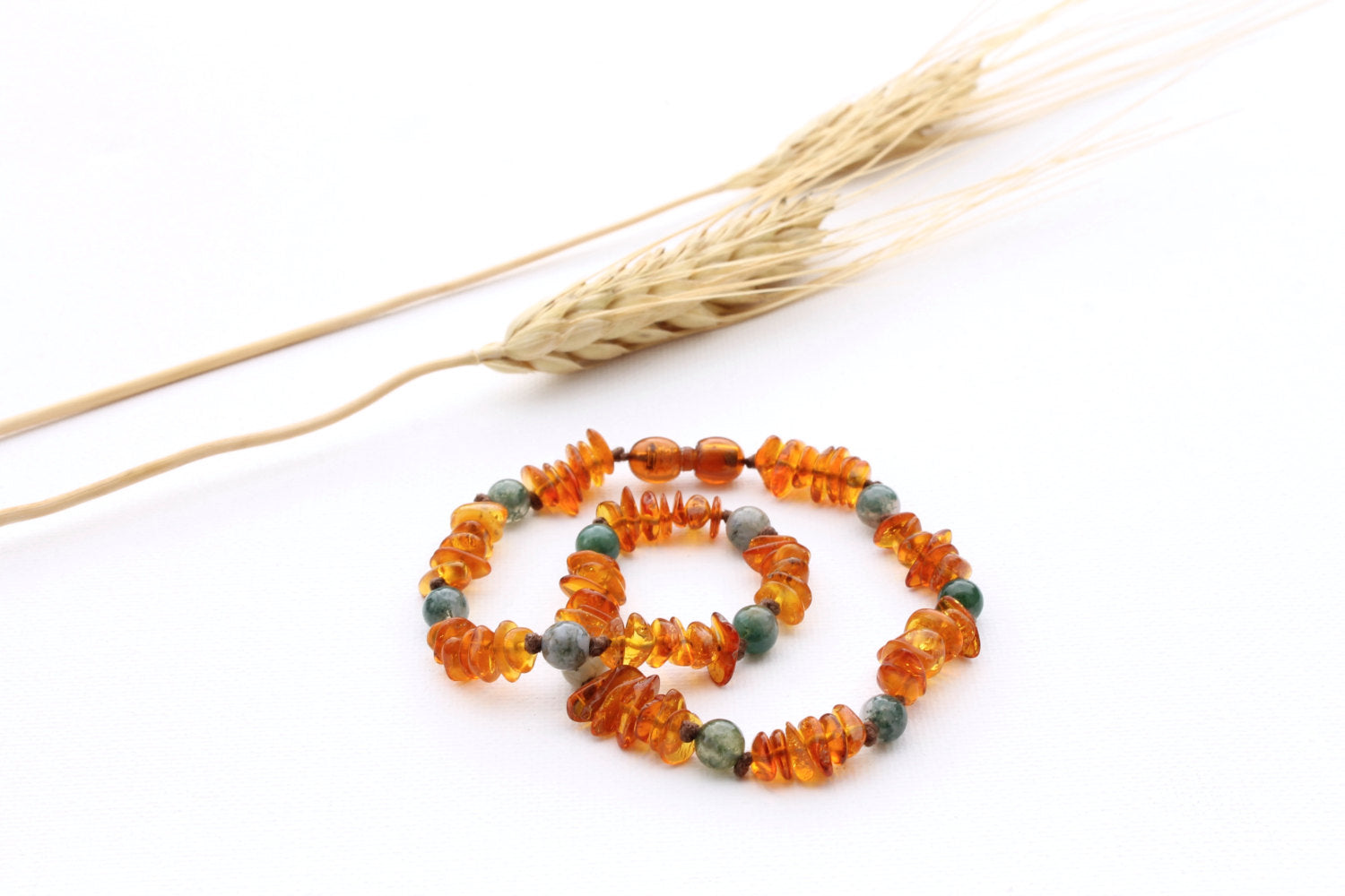 Honey Baltic Amber Teething Necklace with Moss Agate