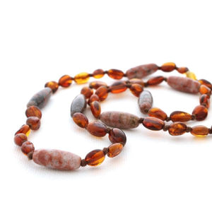 Amber Breastfeeding Necklace with Brazilian Agate