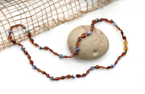 Cognac Amber and Sodalite Babywearing Necklace