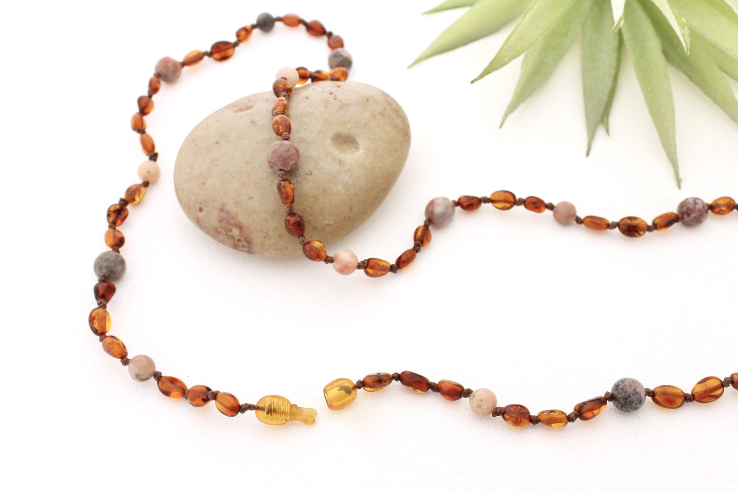 Cognac Baltic Amber and Lepidolite Breastfeeding Necklace