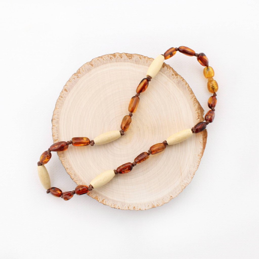Cognac Baltic Amber and Wood Teething Necklace