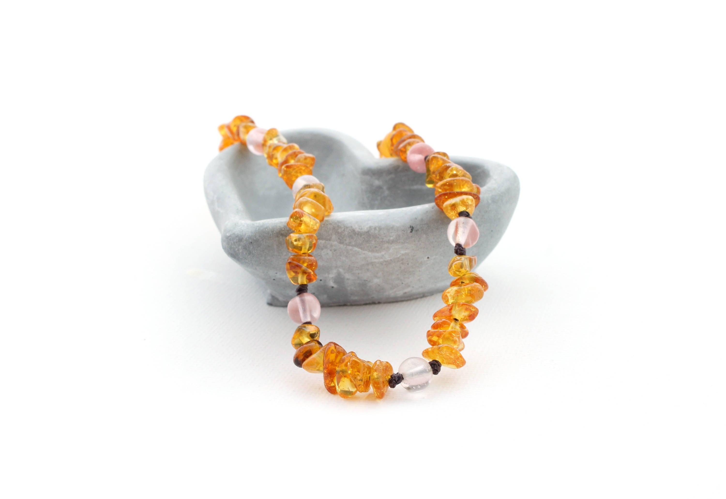Honey Amber Teething Necklace with Cherry Quartz