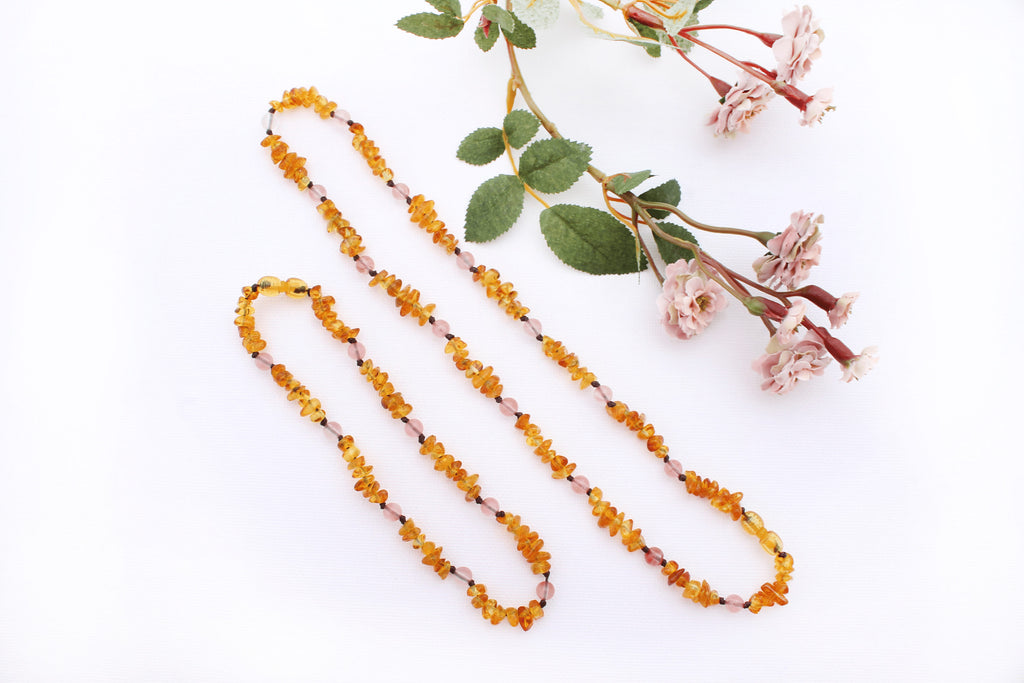 Matching Baltic Amber Teething Necklace Set with Cherry Quartz