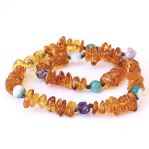 Honey Baltic Amber Teething Necklace with Amethyst and Green Striped Agate