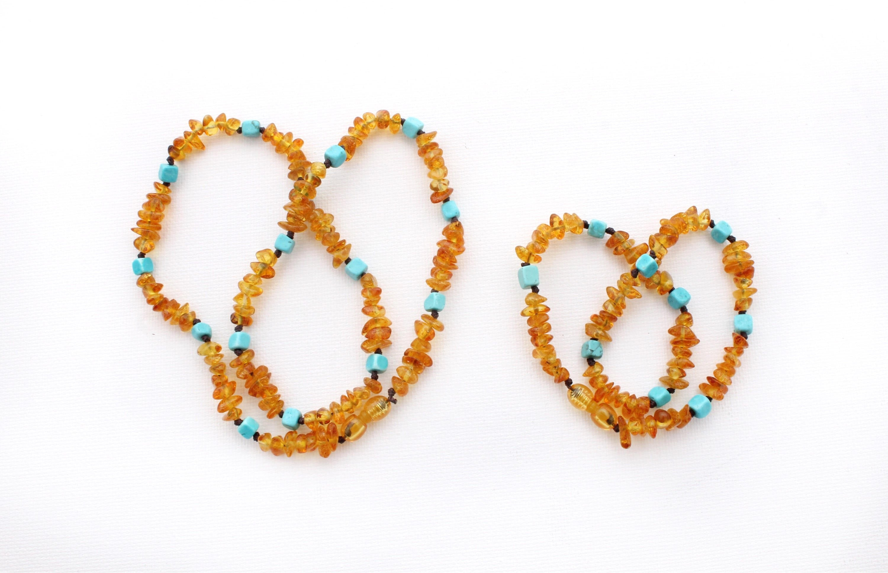 Matching Honey Amber Necklace Set with Howlite Blue Cubes