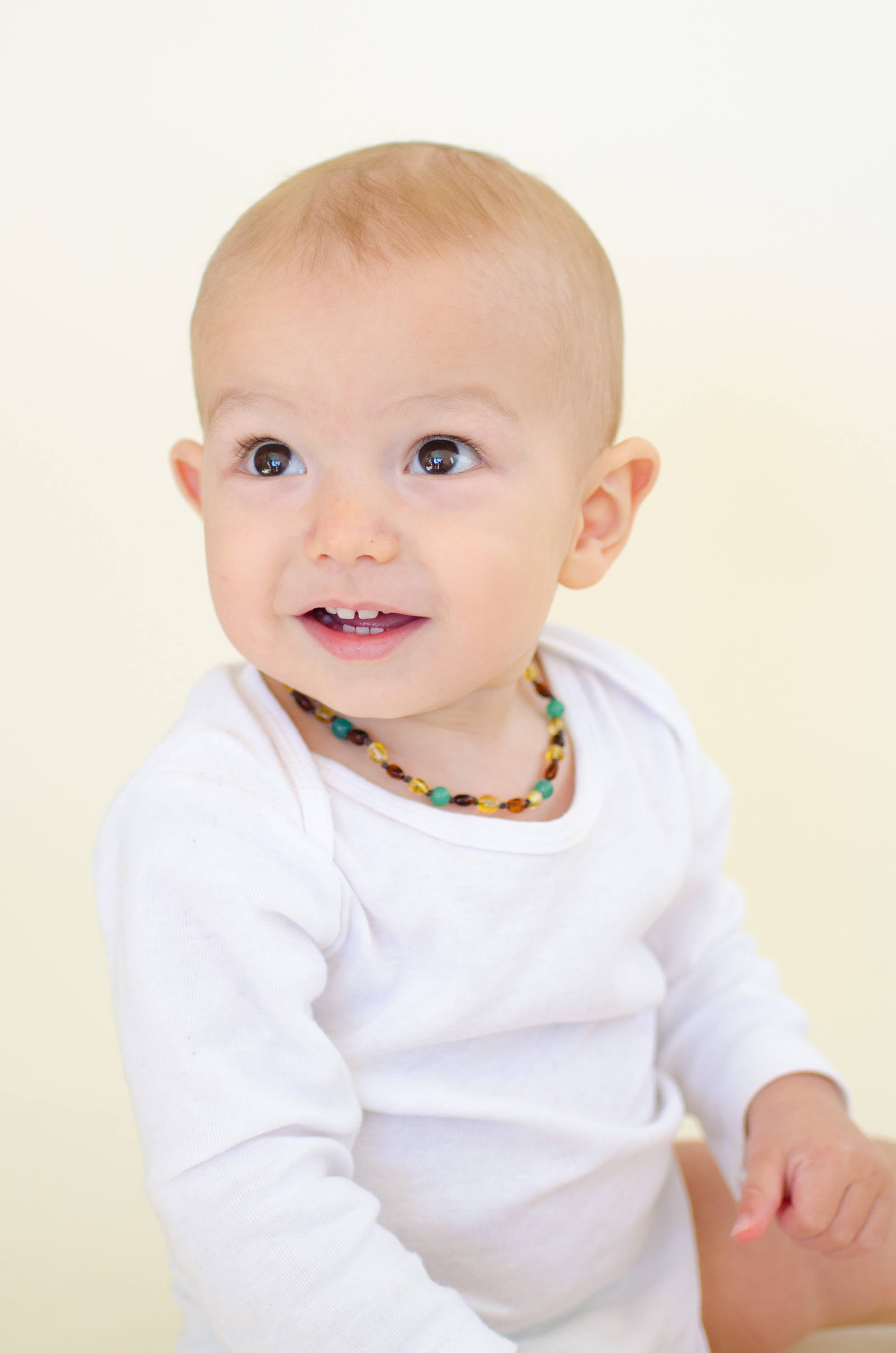 Lemon and Cognac Amber Teething Necklace with Green Agate