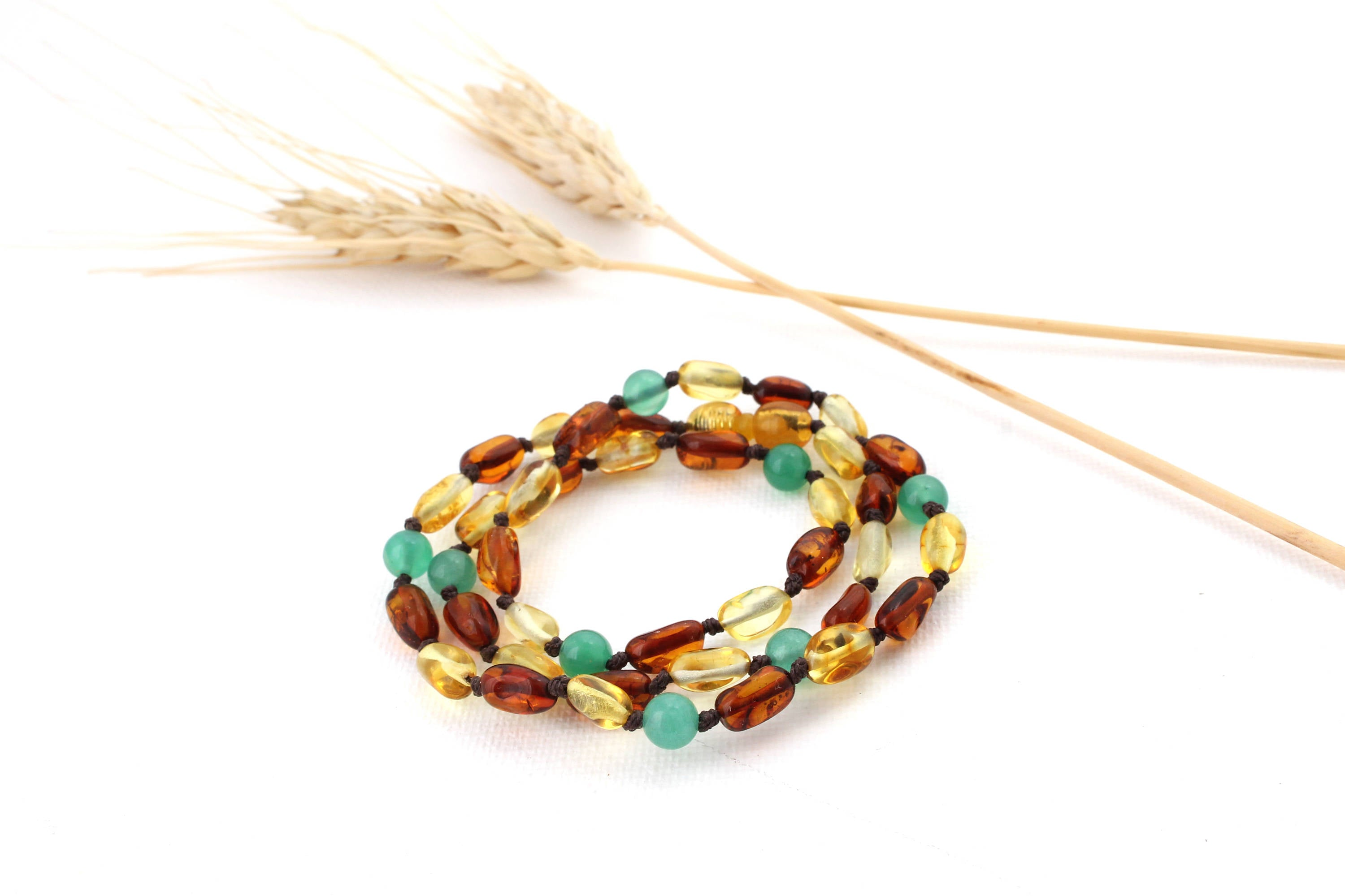 Mommy and Me Matching Amber Necklace Set | Cognac and Lemon Amber with Green Agate