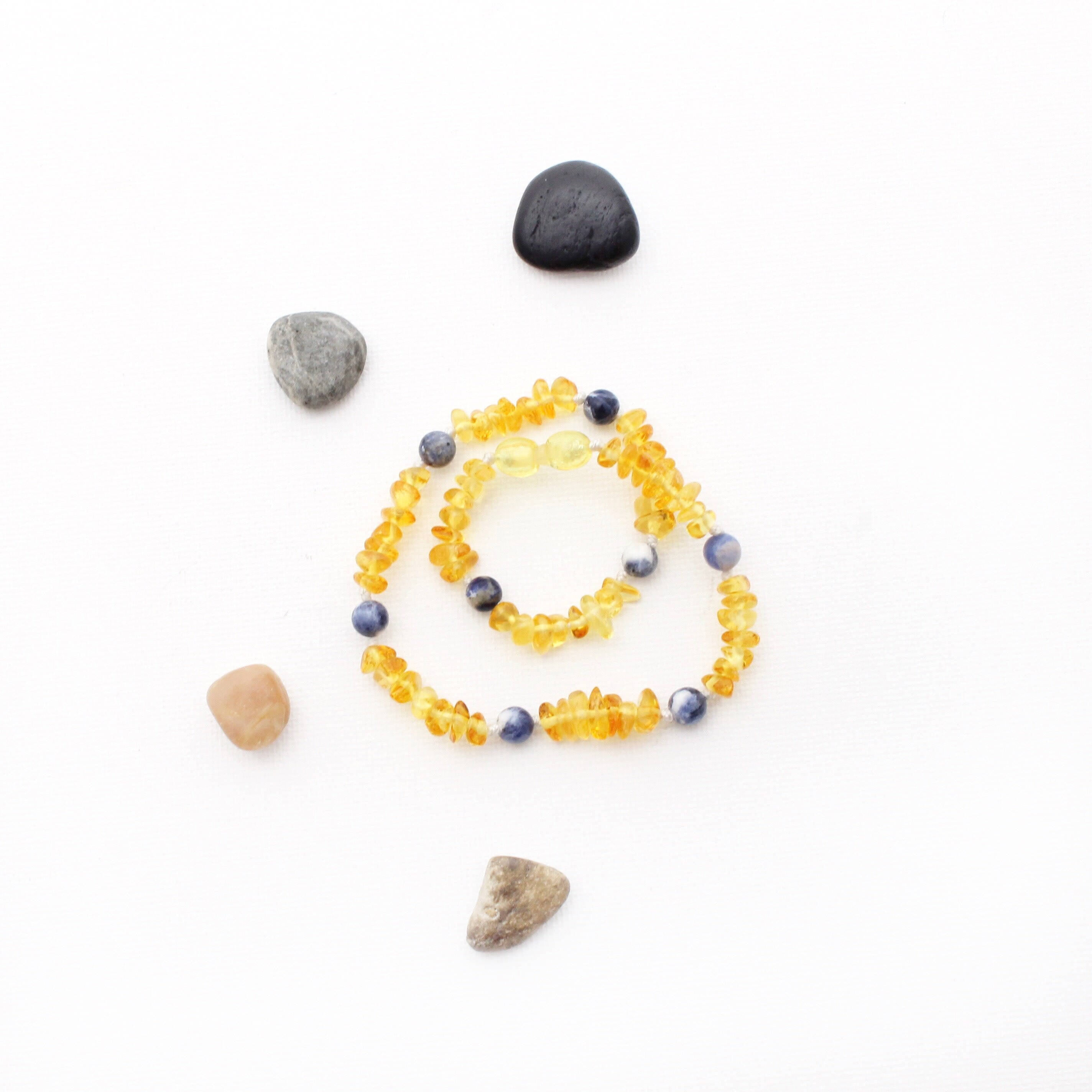 Lemon Amber and Sodalite Teething Necklace
