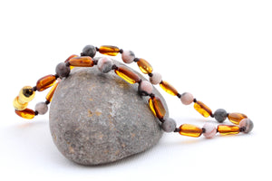 Cognac Baltic Amber Teething Necklace with Pink Zebra Jasper