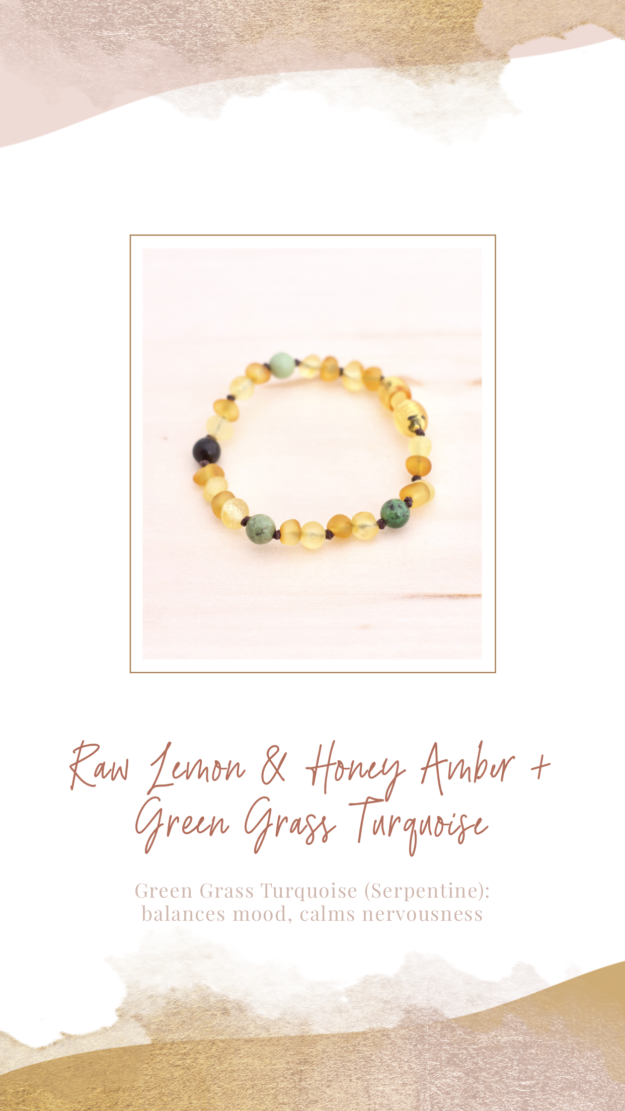 Amber Teething Necklace | Butter Amber + Blue Green Impression Jasper