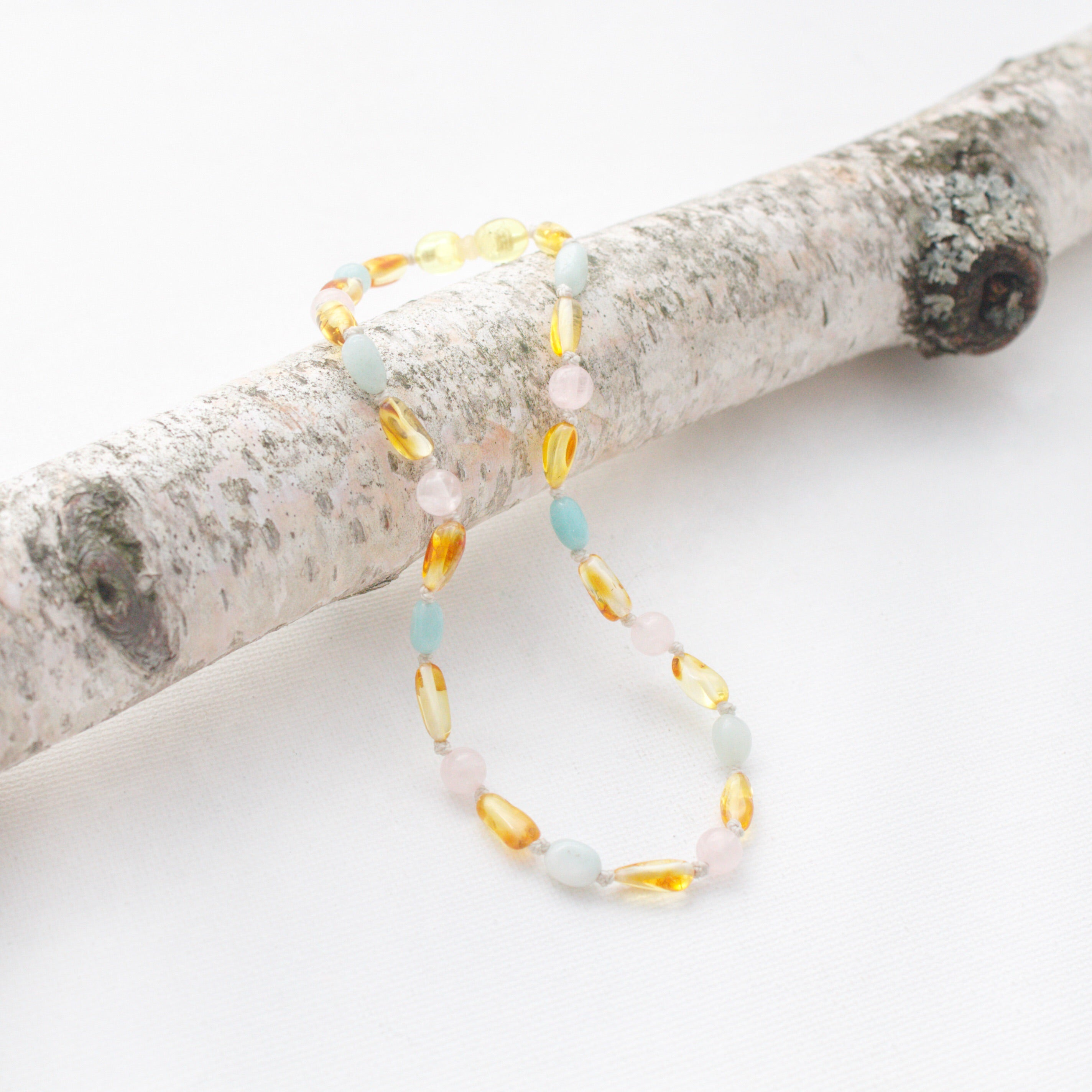 Baltic Amber Teething Necklace | Lemon Amber + Rose Quartz + Peruvian Amazonite