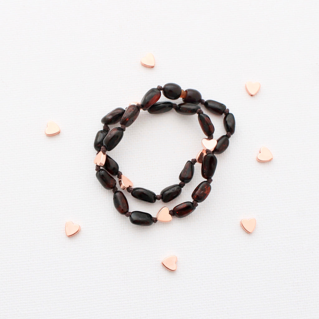 Cherry Amber Teething Necklace + Rose Hematite Hearts