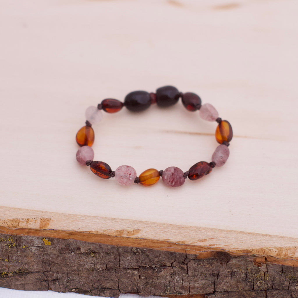 Baltic Amber Bracelet | Black Cherry & Cognac Amber + Strawberry Quartz