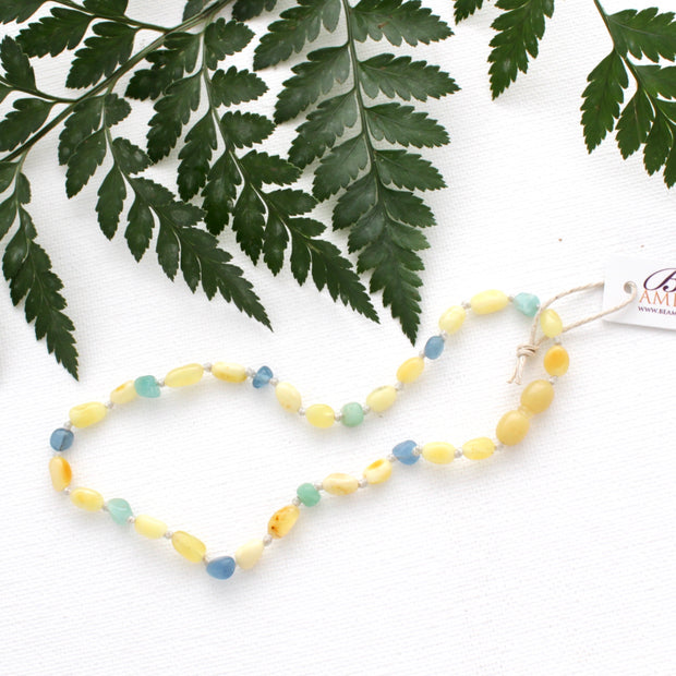 Butter Amber Necklace with Blue Multi Quartz 1