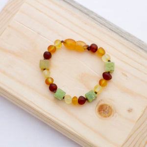 Amber Teething Bracelet | Mixed Amber + Chrysoprase