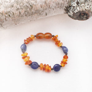 Baltic Amber Teething Bracelet | Raw Honey + Cognac Amber + Sodalite