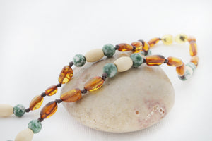 Mommy and Me Matching Amber Necklace Set | Cognac Amber with Tree Agate