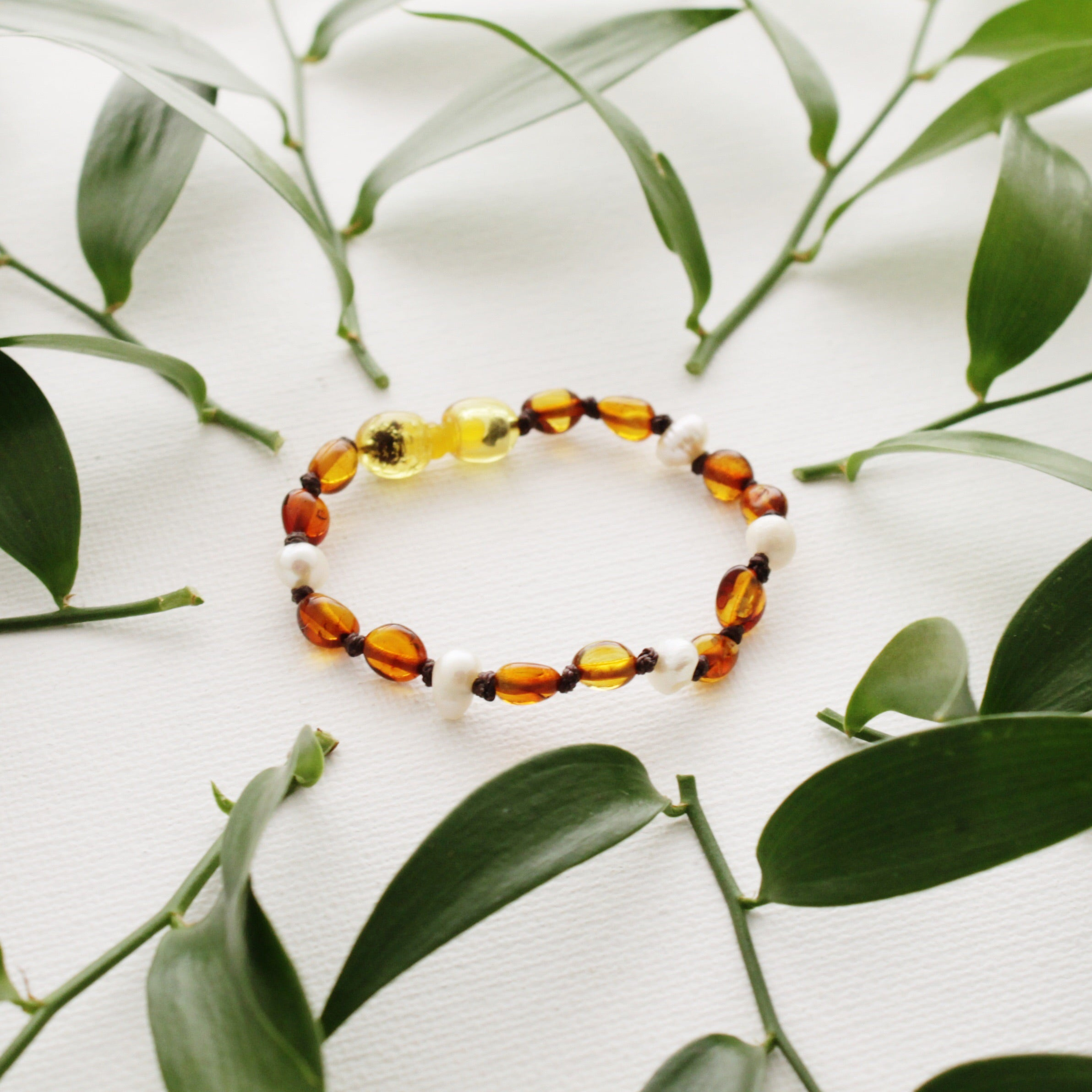 Cognac Amber Teething Bracelet with Natural Pearls