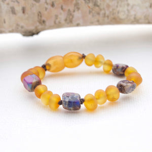Amber Teething Bracelet | Frosted Honey + Purple Impression Jasper