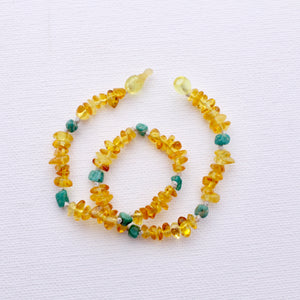 Baltic Amber Necklace | Lemon Amber + Amazonite