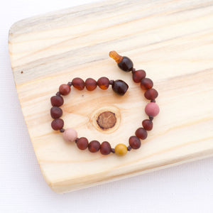 Baltic Amber Teething Bracelet | Frosted Red Cherry Amber + Mookite