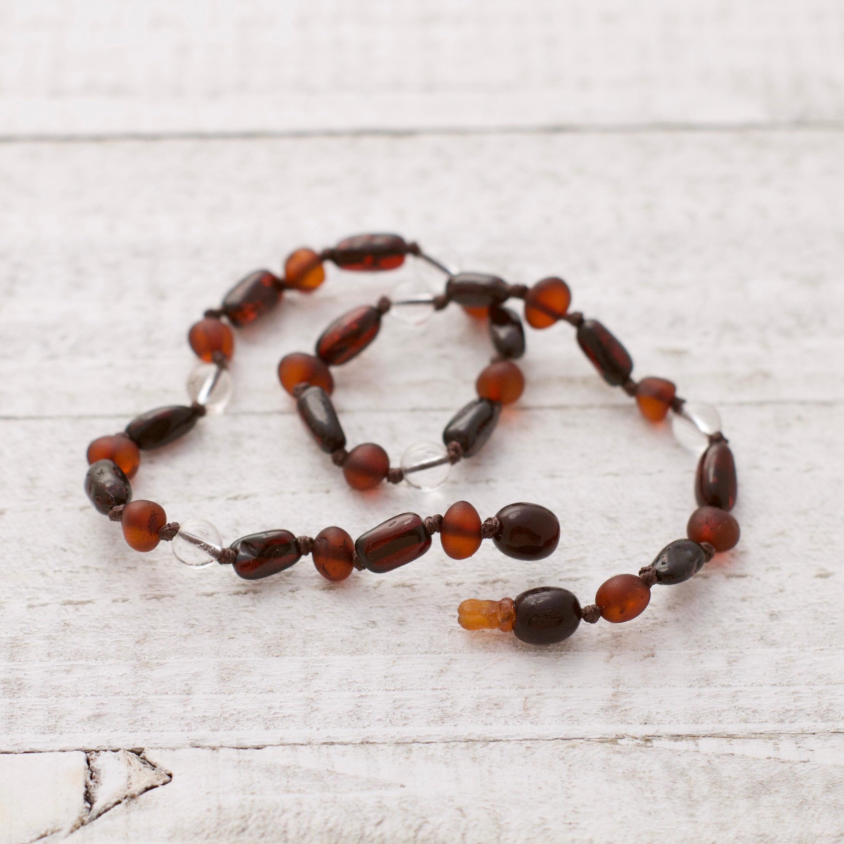 April Birthstone Necklace | Amber and Crystal Quartz | Baltic Amber Teething Necklace