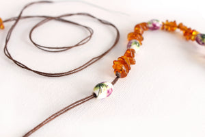 Honey Amber Teething Necklace + Painted Floral Beads