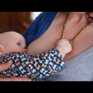 Amber Breastfeeding Necklace | Cognac Amber + Watermelon Jasper