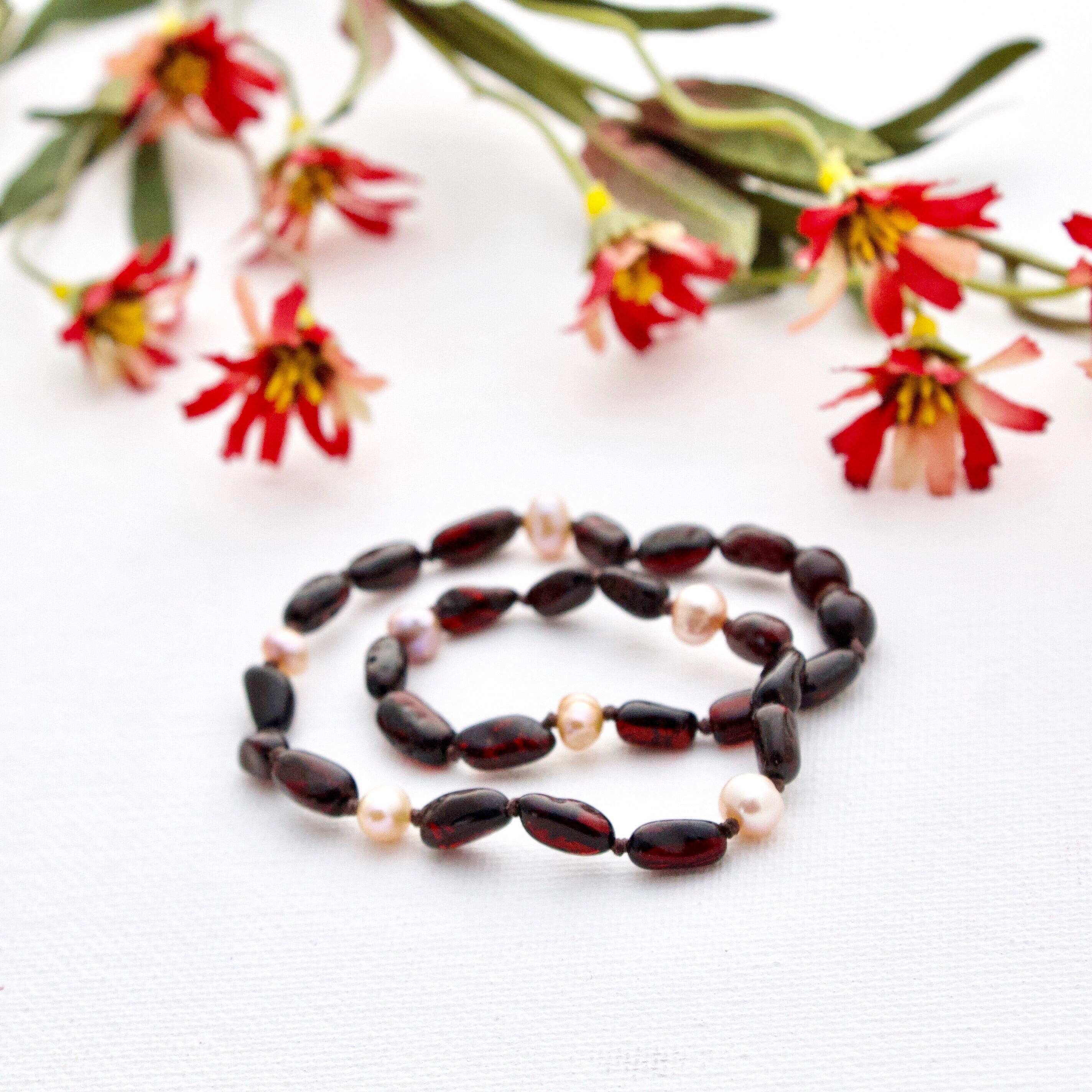 Cherry Amber Teething Necklace with Rose Pearls