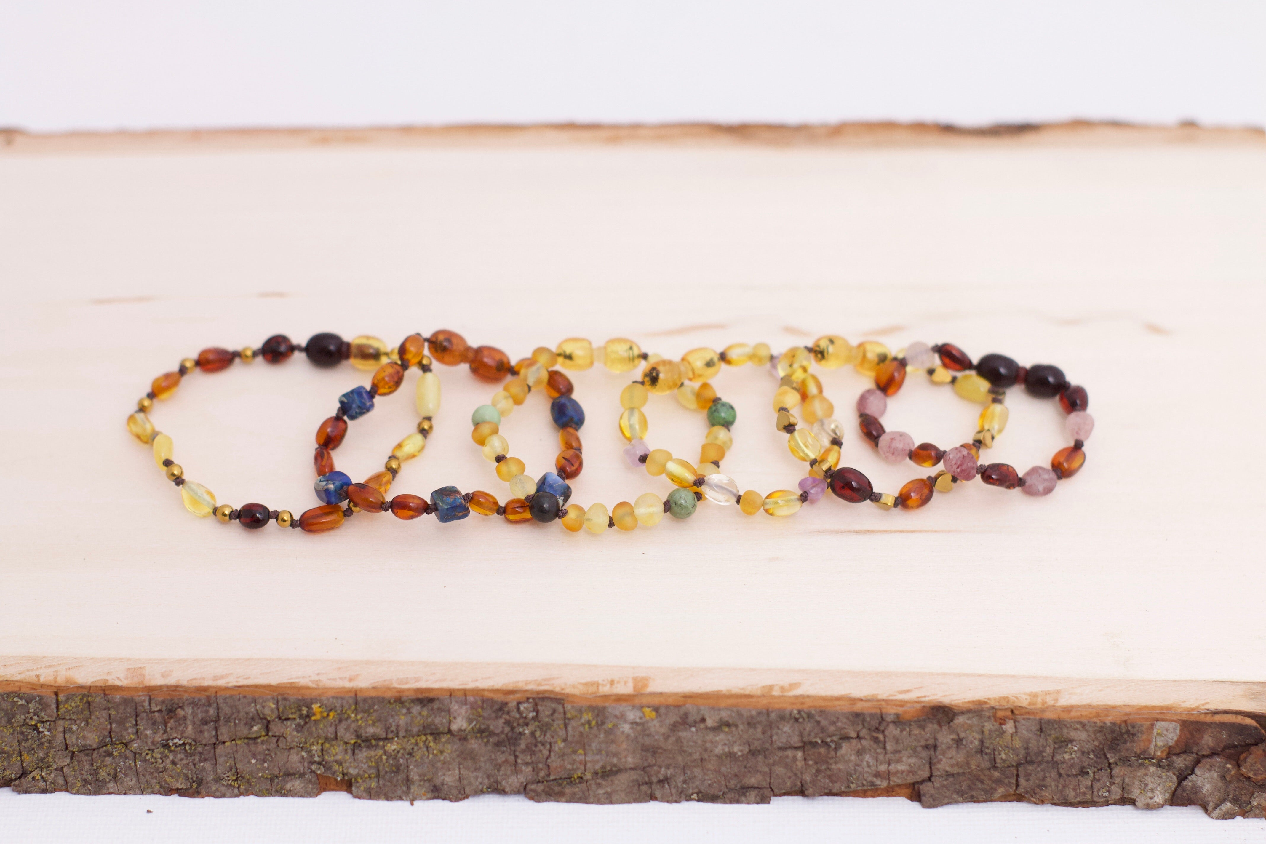 Baltic Amber Bracelet | Lemon & Honey Amber + Green Grass Turquoise