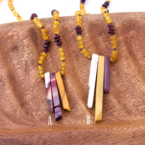 Frosted Honey Amber + Garnet + Mookaite Slice Focal | Mama Amber | Amber Breastfeeding Necklace