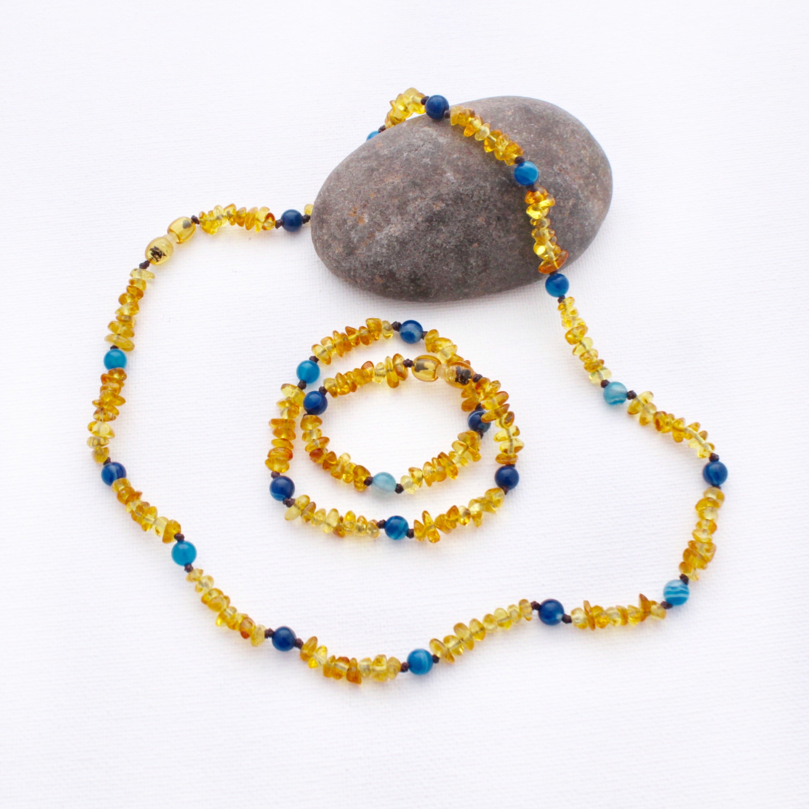 Mini and Me Amber Necklace Set | Honey Amber with Blue Striped Agate
