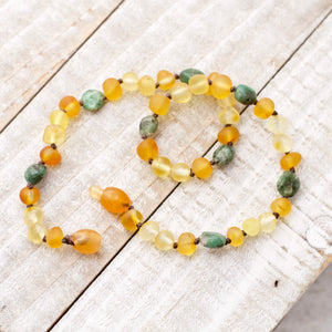 May Birthstone Necklace | Amber and Emerald Necklace | Baltic Amber Necklace