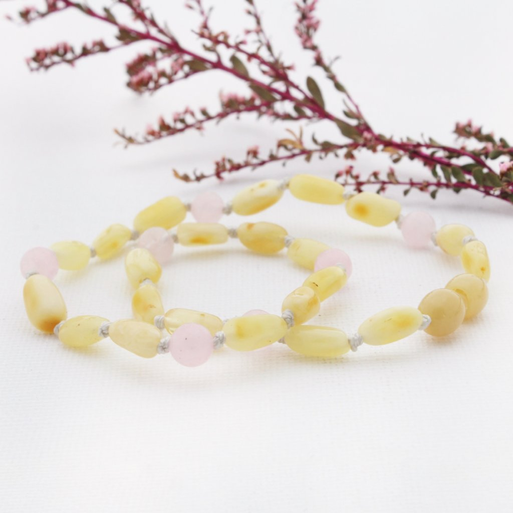 Butter Amber Necklace with Rose Quartz